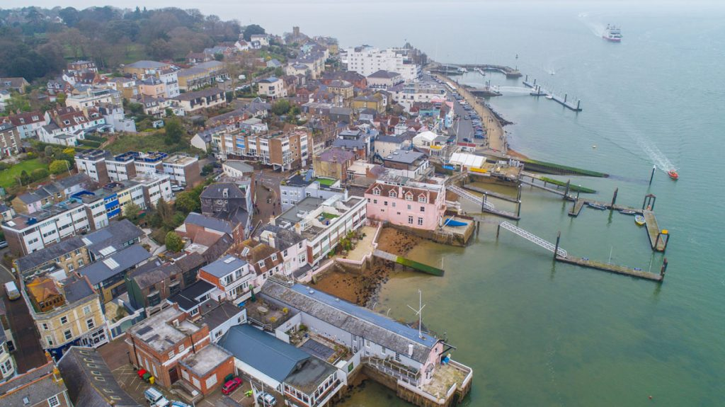 Aerial Cowes waterfront